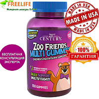 21st Century, Друзья из зоопарка, мультивитамины в форме мишек, детская мультивитаминная добавка, 150 мишек, к