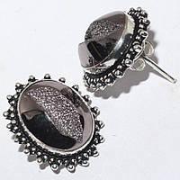 """Яркие серьги-пусеты с пиритом """"Серебро"""",  от Студии  www.LadyStyle.Biz, фото 1"""