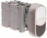 Кнопка комплектная с двойным толкателем 2 NO Белый-Черный Spamel SP22-2KL-20-230-LEDBCZ