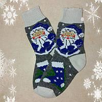 Женские новогодние носки с дедом морозом р. 37-38, шерстяные носочки на подарок