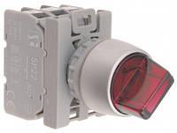 Переключатель 2-пол. Контакт Красный 1NO с самовозвратом кольцо никелированное Spamel SP22-PCL.C-10-24-LED.