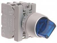Переключатель 2-пол..Голубий пидсвитка.230V кольцо никелированное Spamel SP22-PCL.N-10-LED230VAC
