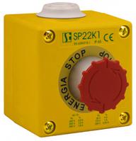 Пост управления 1-местный с кнопкой B с сигнальным контактом 2 сальник M20 Spamel SP22K108-2 Пост управления 1-местный с кнопкой B с сигнальным
