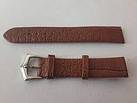 Ремешок коричневый кожанный тонкий 18мм