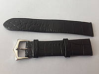 Ремешок черный кожанный тонкий 18мм