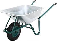 Тачка строительная 1-колесная, пневматическое колесо с пласт.втулками, грузоподъемность 160кг, слой цинка-100 гр/м2, объем кузова 85л Detex 1/1