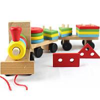 Каталка паровозик геометрика деревянная игрушка