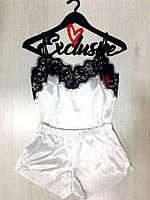 Романтичный женский комплект майка и шорты для дома и сна ТМExclusive