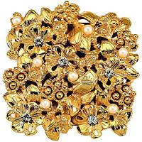 Ручка-кнопка Ferretto Freya золото и жемчуг со стразами