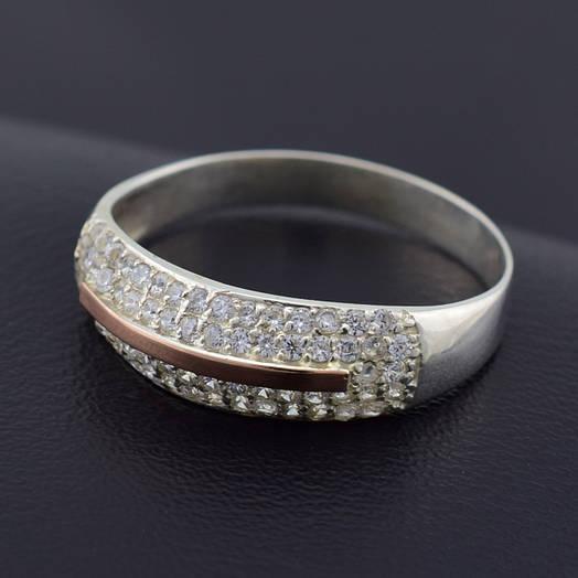 """Серебряное кольцо с золотой пластиной """"Сандра"""", размер 21.5, серебро 2.4 г, золото 0.06 г"""