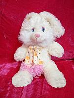 Белый плюшевый Зайчик 28 см в шарфе мягкая игрушка хороший подарок взрослым и детям