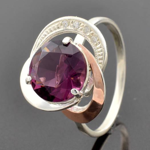 """Серебряное кольцо """"Роза №2"""", вставка фиолетовый фианит, вес 3.05 г, размер 17"""