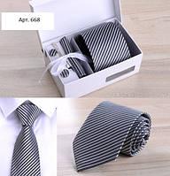 Подарочный набор в полоску: галстук, запонки, платок, зажим