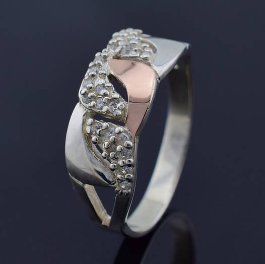 """Серебряное кольцо с золотой пластиной """"Юлия"""", размер 20, серебро 3.6 г, золото 0.04 г"""