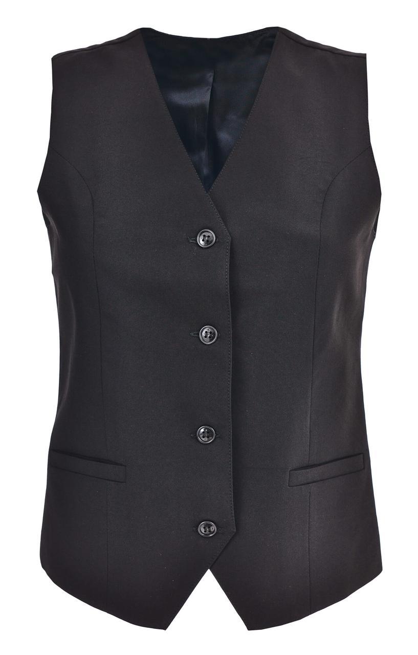 Жилетка Atteks для официанта черная классическая с карманами на подкладке - 01100