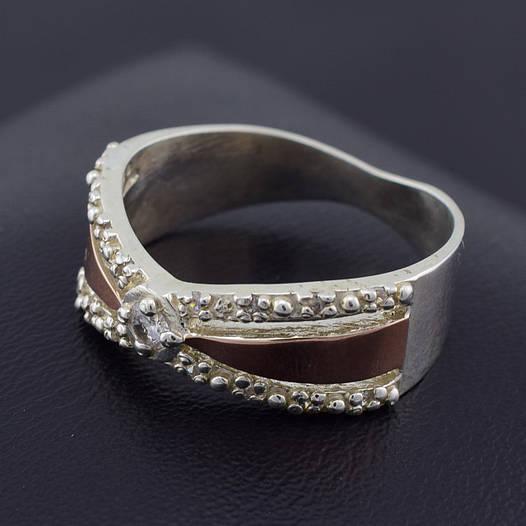 """Серебряное кольцо с золотыми пластинами """"Канди"""", размер 20, серебро 5.19 г, золото 0.1 г"""