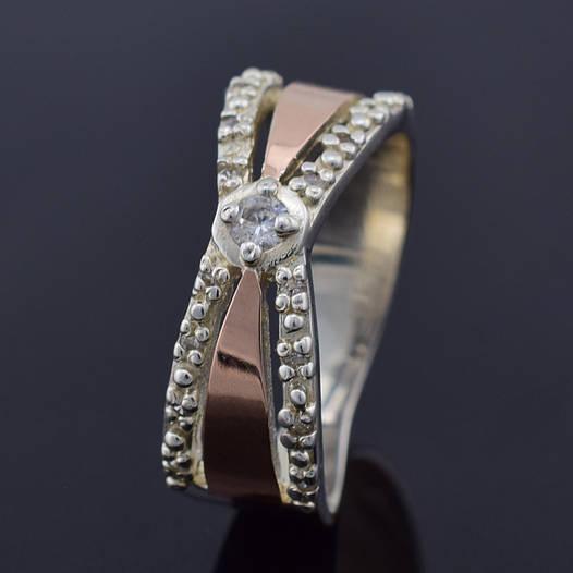 """Серебряное кольцо с золотыми пластинами """"Канди"""", размер 21.5, серебро 5.2 г, золото 0.1 г"""
