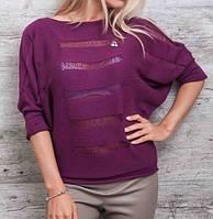 Свитер вязанный молодежный фиолетовый 46-48