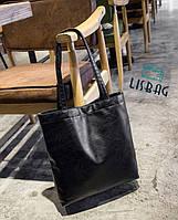 Женственная большая черная сумка на плечо