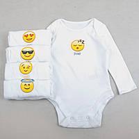 """Бодики для новорожденных с длинным рукавом F&F """"Мистер смайл"""", набор 5 шт, размер 68 см"""