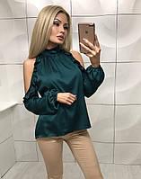 Блуза женская шелк с вырезами на плечах