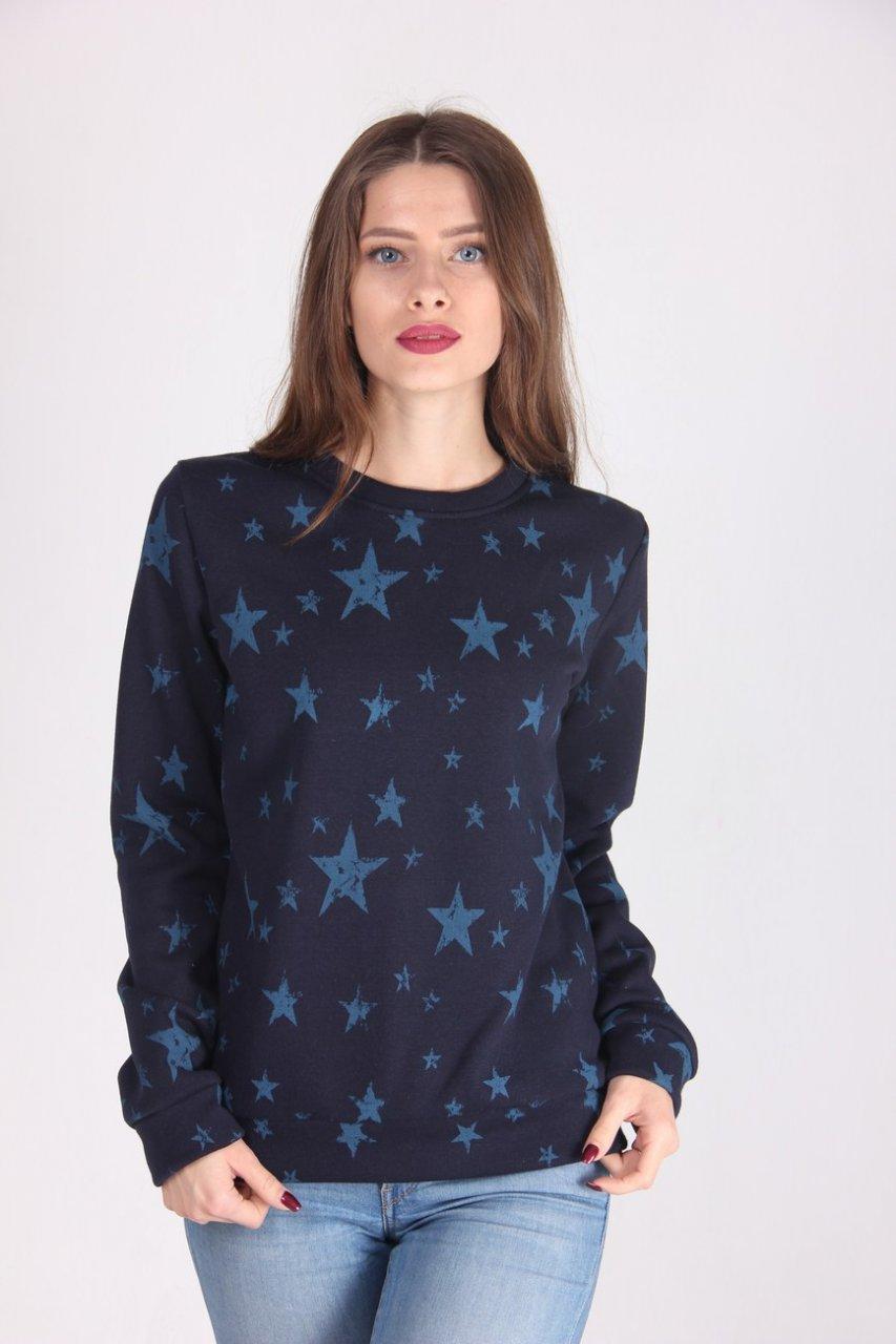 Модная женская кофта в стиле кэжуал темно-синяя