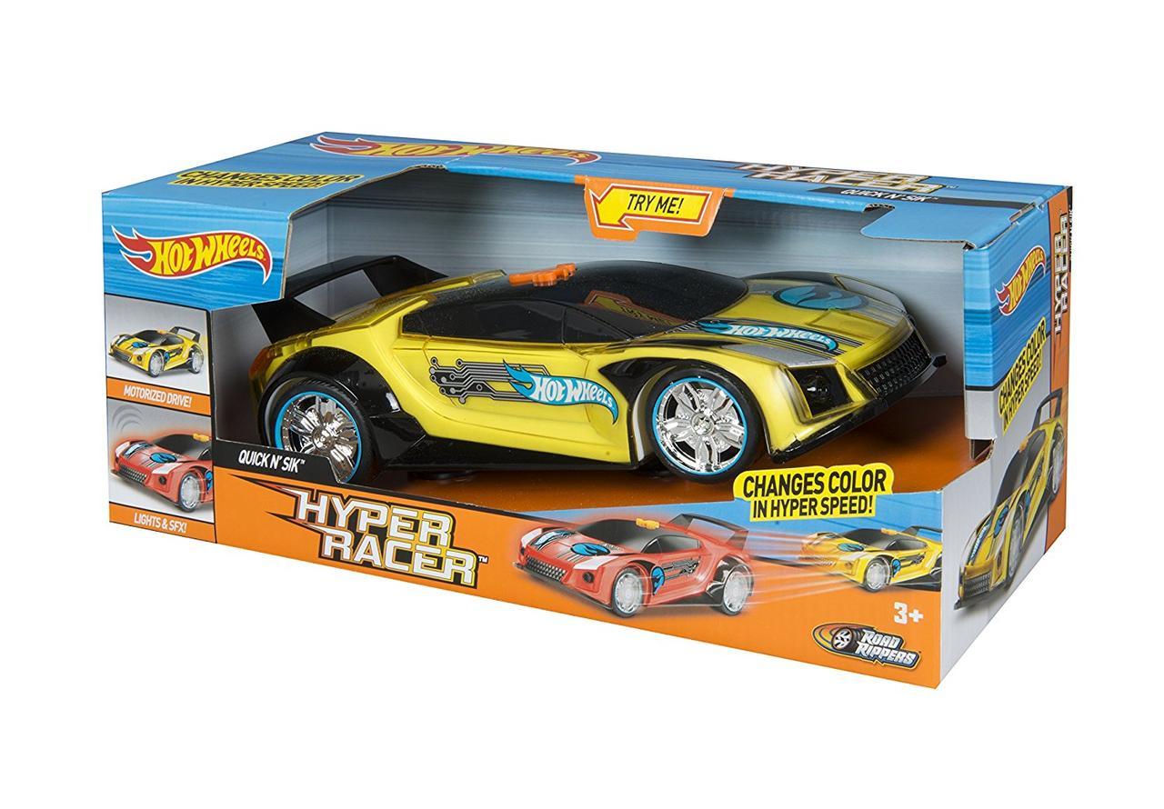 Хот Вилс супер гонщик со светом и звуком 25 см желтая Hot Wheels - Quick N' Sik by Toy State