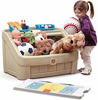 """Комод для игрушек и поверхность для творчества 2 в 1 """"Box & Art"""" 48х78х48 см красный Step 2 Светло-серый"""