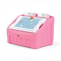 """Комод для игрушек и поверхность для творчества 2 в 1 """"Box & Art"""" 48х78х48 см красный Step 2 Розовый"""