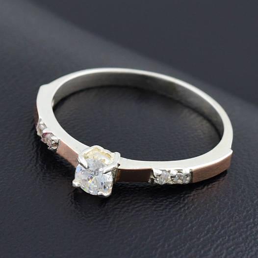 """Серебряное кольцо с золотыми пластинами """"Рио"""", размер 19, серебро 1.93 г, золото 0.04 г"""