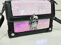 Сумочка каркасная, сумка розовые пайетки, клатч 207-232