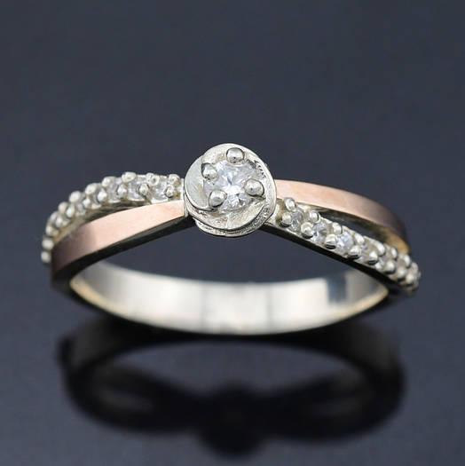 """Серебряное кольцо с золотыми пластинами """"Роза"""", размер 18, серебро 2.6 г, золото 0.06 г"""