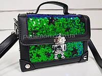 Сумочка каркасная, сумка зелёные пайетки, клатч 207-231
