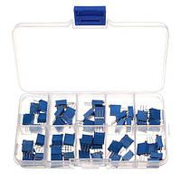 Переменные многооборотные резисторы 3296W набор 50шт. - 10 номиналов по 5 штук