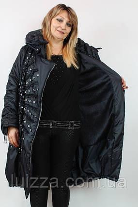 Турецкое зимнее пальто Солнце 52-64рр черный, фото 2