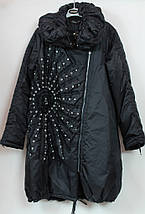 Турецкое зимнее пальто Солнце 52-64рр черный, фото 3