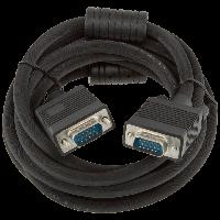 Кабель VGA -3.0BK, 3.0м черный, с двумя ферритовыми кольцами
