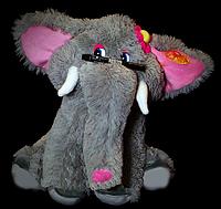 Мягкая детская игрушка слон 45 см сидящий серый с цветком на голове поющая игрушка