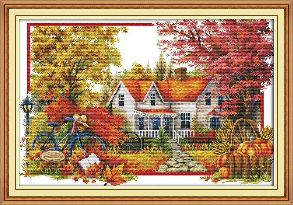 Осенний пейзаж F892 Набор для вышивки крестом 14СТ