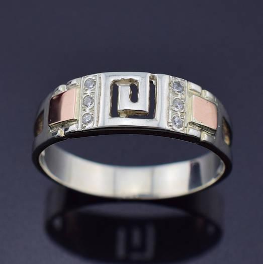 "Серебряное кольцо с золотыми пластинами ""Цезарь"", размер 20, серебро 2.87 г, золото 0.1 г"