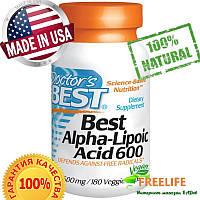 Doctor's Best, Альфа-липоевая кислота (Best Alpha-Lipoic Acid), 600 мг, 180 растительных капсул, купить, цена,