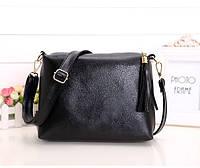 Женская сумка черная из мягкой экокожи через плечо опт, фото 1