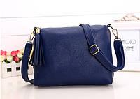 Женская сумка синяя из мягкой экокожи через плечо опт, фото 1