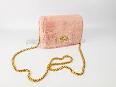 Сумочка розовый мех на цепочке 207-29, фото 2