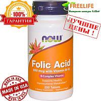Now Foods, Фолиевая кислота с витамином B12, 800 мкг, 250 таблеток