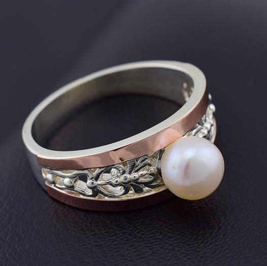 """Серебряное кольцо с золотыми пластинами """"Эрика"""", размер 19, серебро 5.1 г, золото 0.16 г"""