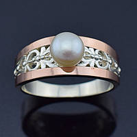 """Серебряное кольцо с золотыми пластинами """"Эрика"""", размер 20, серебро 4.65 г, золото 0.16 г"""