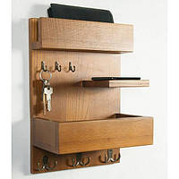 Полка - вешалка в прихожую из массива дерева 2 в 1 «Shelf Hallway» в скандинавском стиле