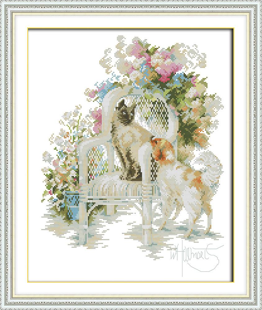 Набор для вышивания крестом с печатью на ткани NKF Кот и собака 14ст D960