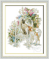 Кот и собака Набор для вышивки крестом с печатью на ткани 14ст
